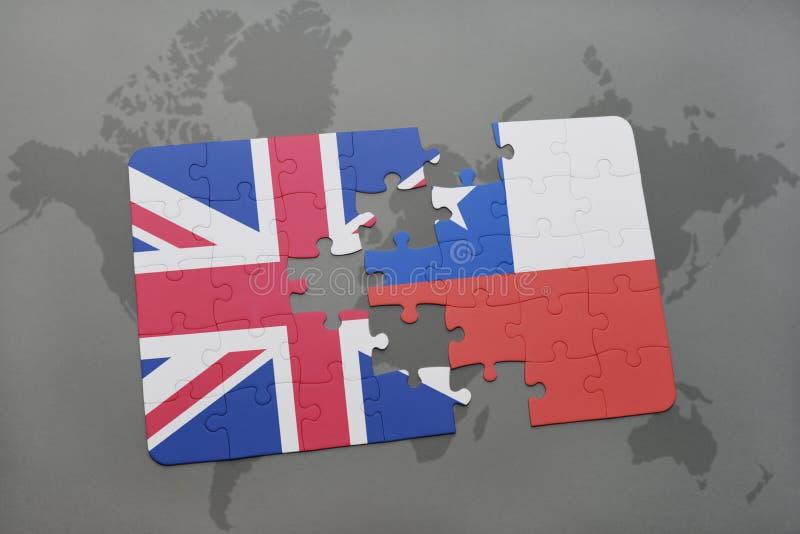 het raadsel met de nationale vlag van Groot-Brittannië en Chili op een wereld brengen achtergrond in kaart royalty-vrije illustratie