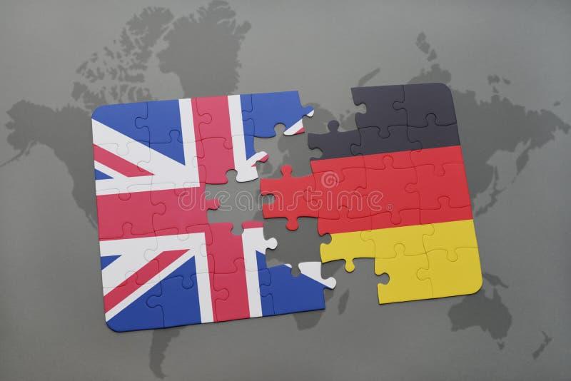 Het raadsel met de nationale vlag van Groot-Brittannië en Duitsland op een wereld brengen achtergrond in kaart stock illustratie