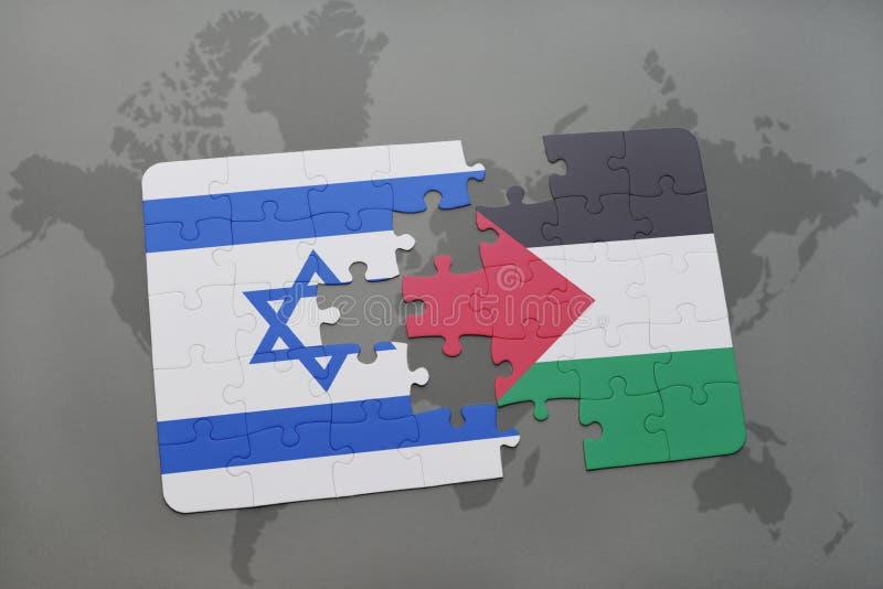 het raadsel met de nationale vlag van Israël en Palestina op een wereld brengen achtergrond in kaart vector illustratie