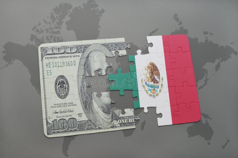 het raadsel met de nationale vlag van Mexico en het dollarbankbiljet op een wereld brengen achtergrond in kaart stock illustratie