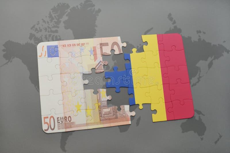 het raadsel met de nationale vlag van Roemenië en het euro bankbiljet op een wereld brengen achtergrond in kaart stock illustratie