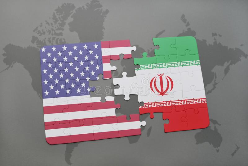 Het raadsel met de nationale vlag van de Verenigde Staten van Amerika en Iran op een wereld brengen achtergrond in kaart vector illustratie