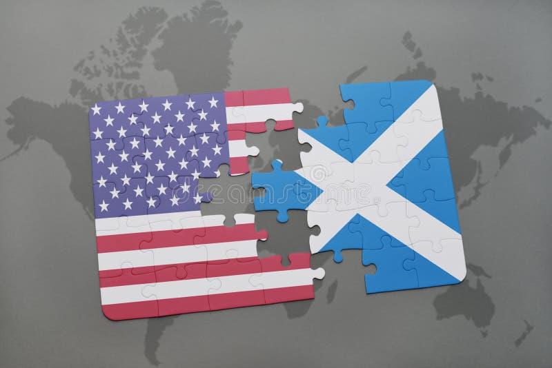 het raadsel met de nationale vlag van de Verenigde Staten van Amerika en Schotland op een wereld brengen achtergrond in kaart royalty-vrije illustratie