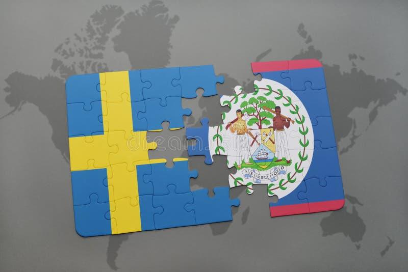 het raadsel met de nationale vlag van Zweden en Belize op een wereld brengen achtergrond in kaart vector illustratie