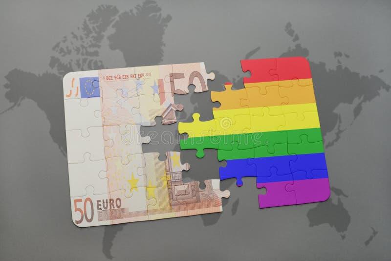 het raadsel met de vrolijke regenboogvlag en het euro bankbiljet op een wereld brengen achtergrond in kaart stock illustratie