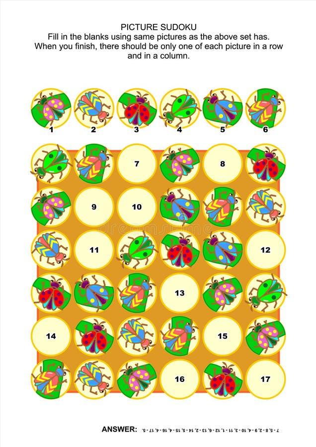Het raadsel van beeldsudoku met insecten en kevers royalty-vrije illustratie