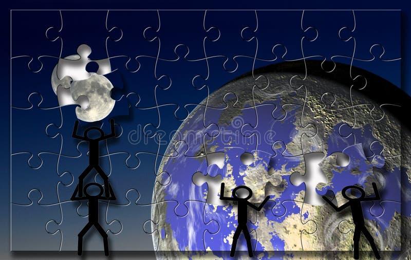 Het raadsel van de Aarde van de maan stock illustratie