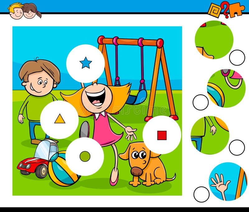 Het raadsel van gelijkestukken met jonge geitjes op speelplaats vector illustratie
