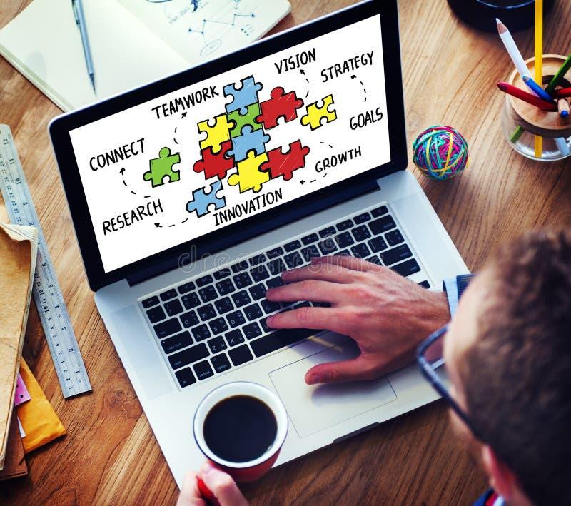 Het Raadsel van groepswerkteam connection strategy partnership support bedriegt stock afbeeldingen
