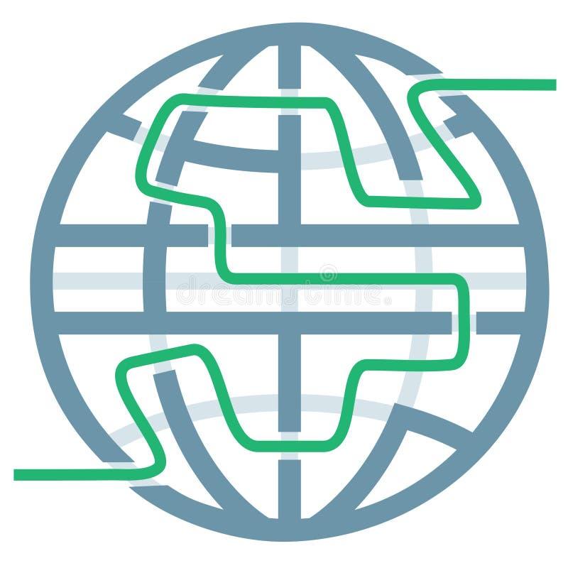 Het Raadsel van het Labyrint van het Symbool van de bol van Globale Oplossingen royalty-vrije illustratie