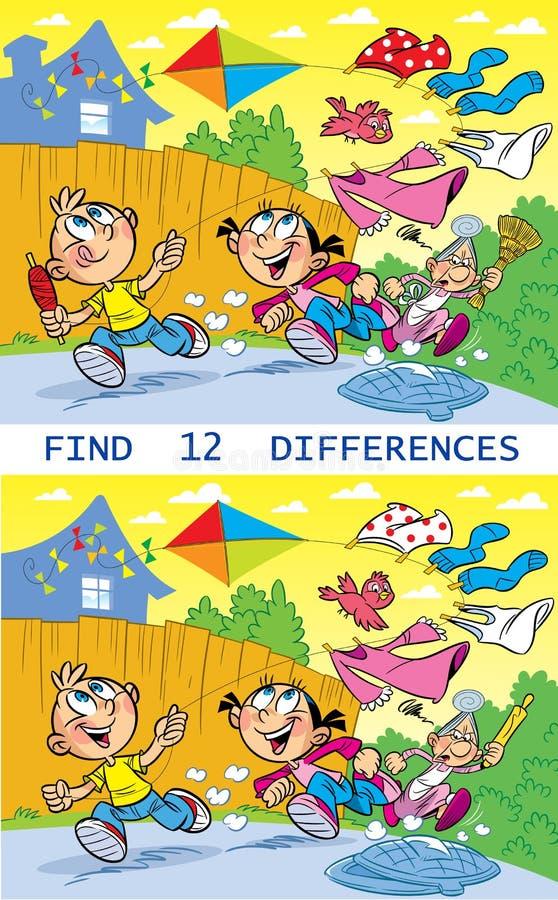 Het raadsel vindt twaalf verschillen royalty-vrije illustratie