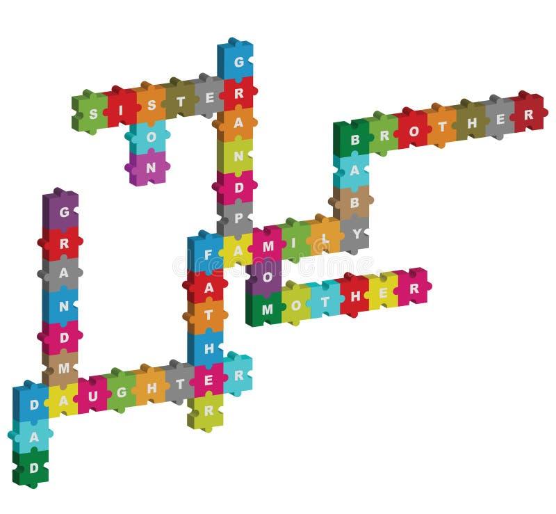 Het raadselkruiswoordraadsel van de familie stock illustratie