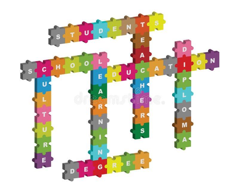 Het raadselkruiswoordraadsel van het onderwijs vector illustratie