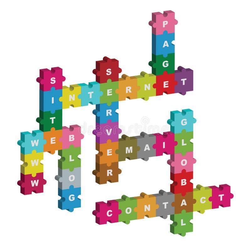 Het raadselkruiswoordraadsel van Internet royalty-vrije illustratie