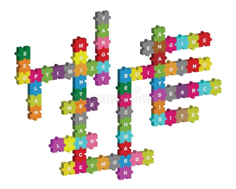 Het raadselkruiswoordraadsel van Seo royalty-vrije illustratie