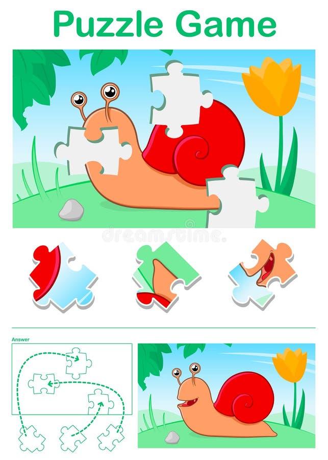 Het raadselspel van het jonge geitjesbeeldverhaal met kleurrijke rode slak stock illustratie