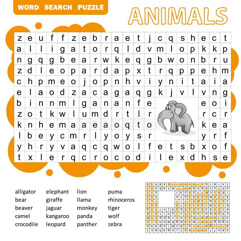 Het raadselspel van het woordenonderzoek van dieren voor het peuteraantekenvel van de jonge geitjesactiviteit royalty-vrije illustratie