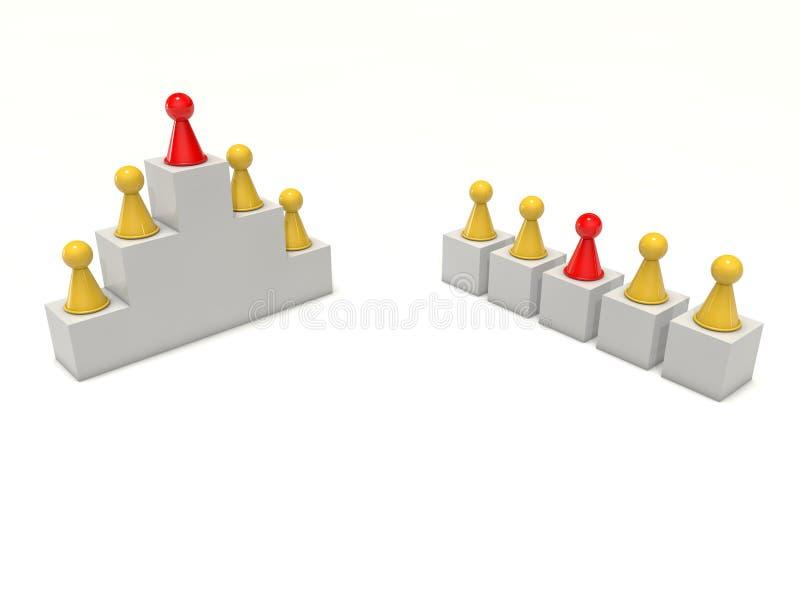 Het raadsspel stelt de hiërarchie individuele leider voor van het teamwerk vector illustratie