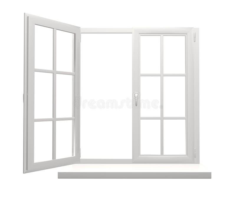Het raamkozijn met één opent en één gesloten klep stock illustratie