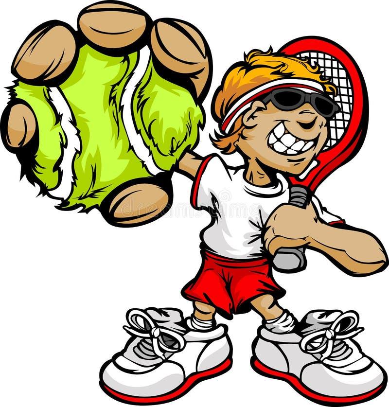 Het Racket en de Bal van de Holding van de Speler van het Tennis van het jonge geitje vector illustratie