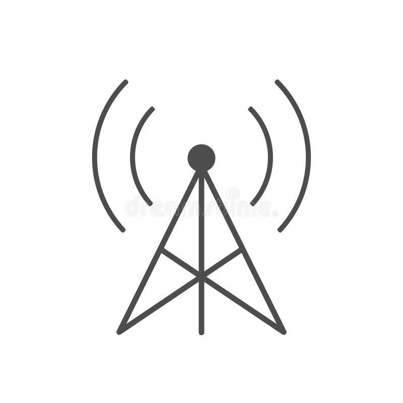Het radiopictogram van de transmissietoren op witte achtergrond vector illustratie