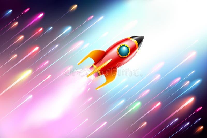 Het raketschip die in de ruimte vliegen Vector illustratie stock foto