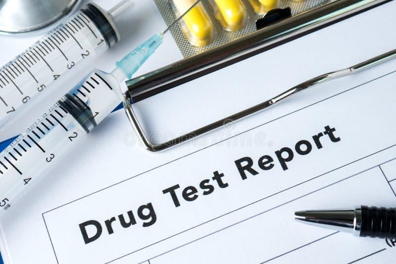 Het rapport van de de drugtest van medicijnenpillen royalty-vrije stock afbeeldingen