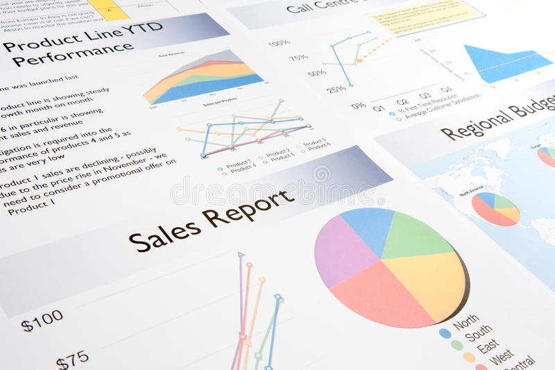 Het Rapport van de verkoop stock foto