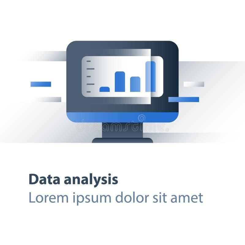 Het rapportgrafiek van de financiënstroom, effectenbeursgegevens die, de terugkeer van de waardeinvestering, de opbrengstgroei, d vector illustratie
