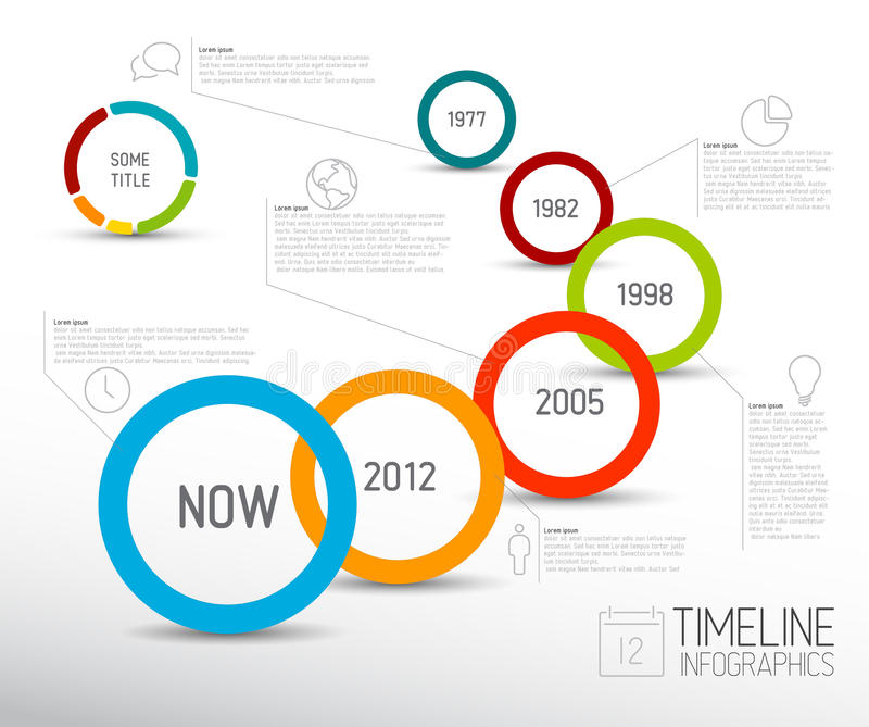 Het rapportmalplaatje van de Infographic licht chronologie met cirkels royalty-vrije illustratie