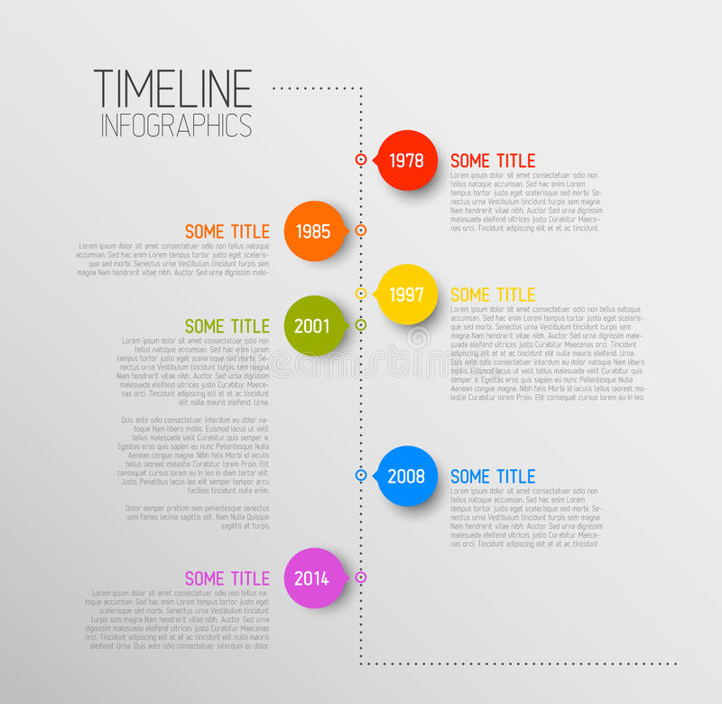 Het rapportmalplaatje van de Infographicchronologie vector illustratie