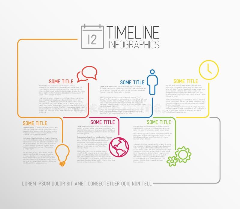 Het rapportmalplaatje van de Infographicchronologie met lijnen stock illustratie