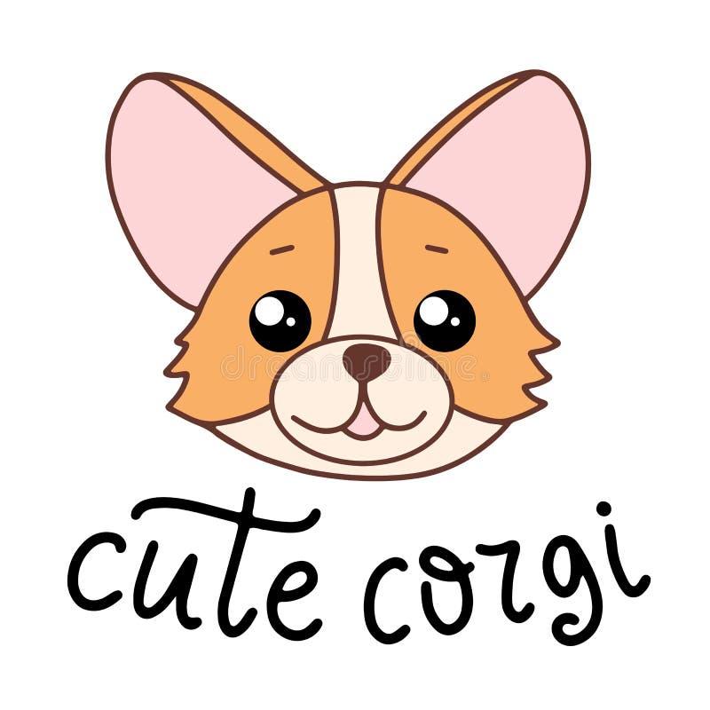 Het ras die van de Corgihond vectorillustratie in beeldverhaalstijl van letters voorzien vector illustratie