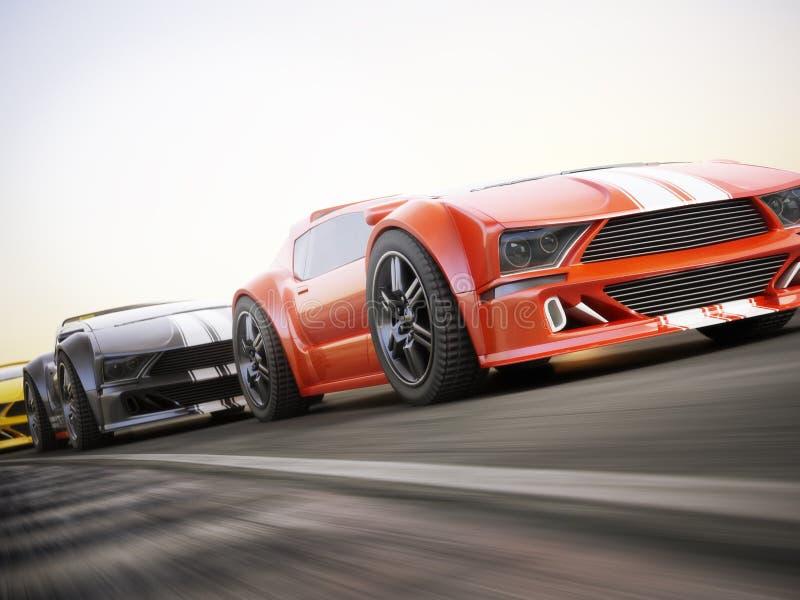 Het ras, Exotische sportwagens die met motie rennen vertroebelt stock illustratie