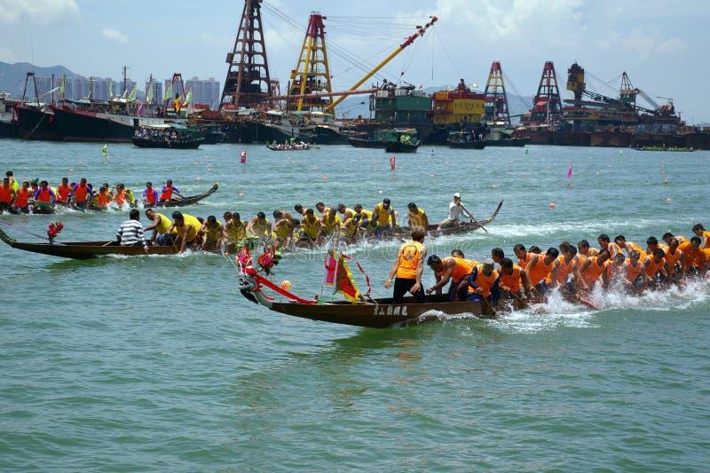 Het Ras van de Boot van de draak in Hongkong stock foto's