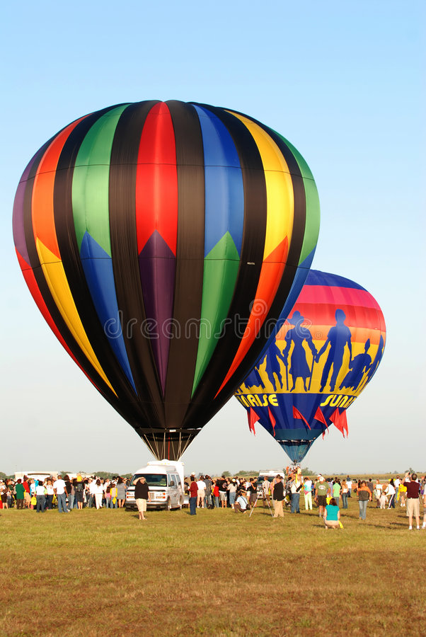 Het ras van de hete luchtballon stock foto's
