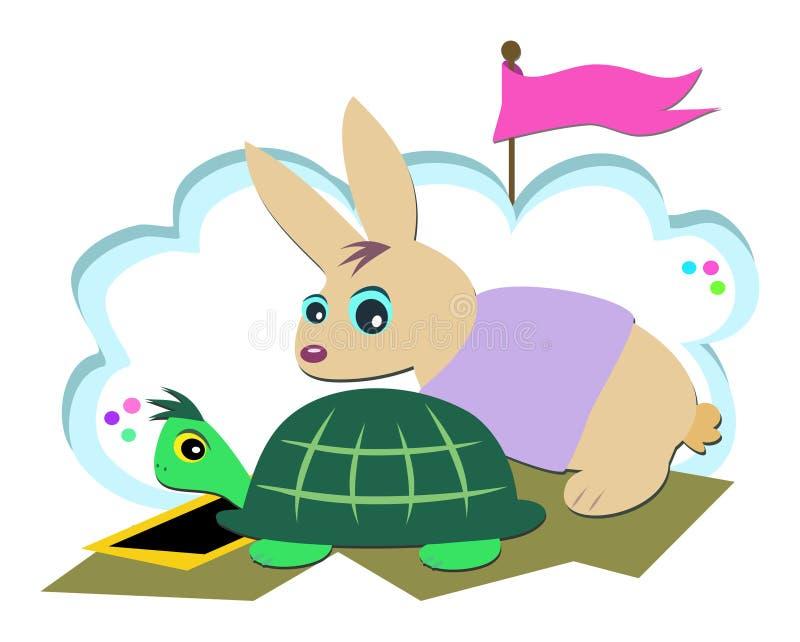 Het Ras van de schildpad en van het Konijn stock illustratie