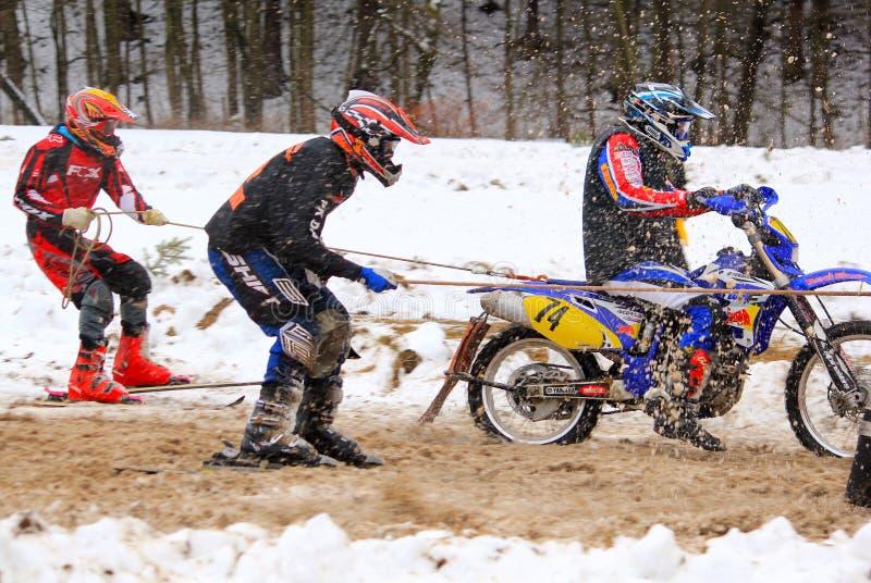 Het ras van Skijoring royalty-vrije stock foto