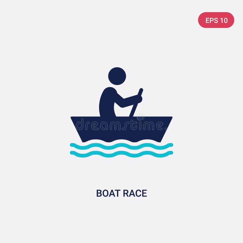 het ras vectorpictogram van de twee kleurenboot van activiteit en hobbysconcept het geïsoleerde blauwe vector het tekensymbool va vector illustratie