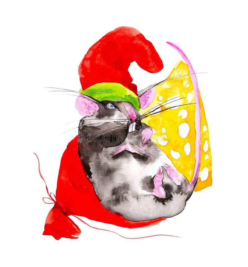 Het rattensymbool van het nieuwe jaar 2020 in GLB van Santa Claus is op de zak met giften naast een brok van kaas watercolor royalty-vrije illustratie
