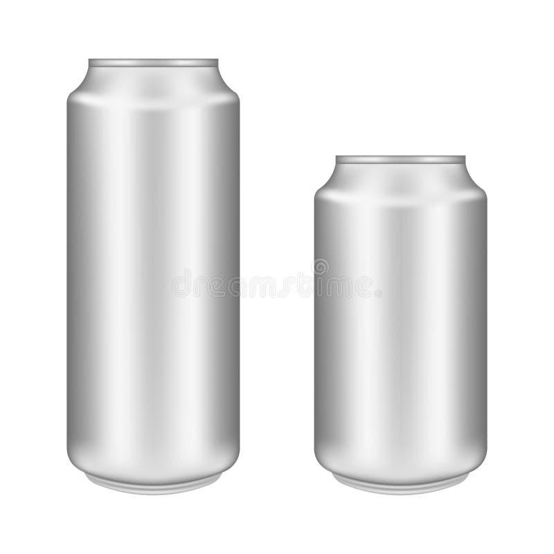 Het realistische aluminium kan op witte achtergrond Het model, spatie kan met exemplaar uit elkaar plaatsen vector illustratie