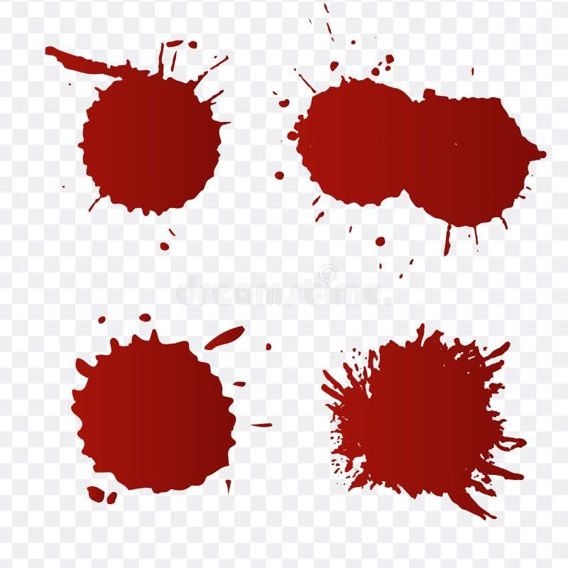 Het realistische bloed ploetert en bloed geplaatste dalingen Plons rode inkt Illustratie op Transparante Achtergrond wordt geïsol stock illustratie