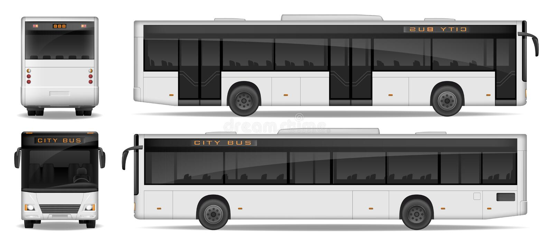 Het realistische die malplaatje van de Stadsbus op witte achtergrond wordt geïsoleerd Van het de Busmodel van de passagiersstad d vector illustratie