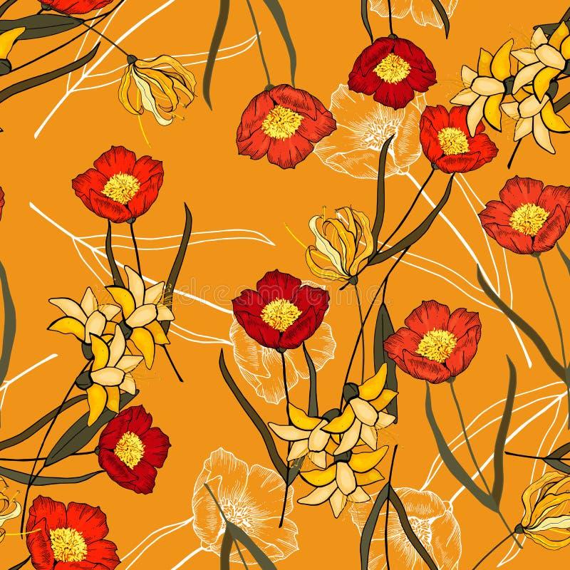 Het realistische geïsoleerde naadloze patroon van bloemen wilde rozen uitstekende reeks Hand getrokken vectorillustratie Abstract vector illustratie