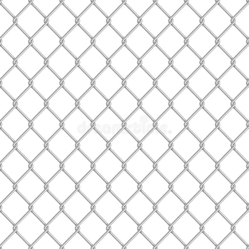 Het realistische glanzende van de de verbindingsomheining van de metaalketting naadloze patroon op wit vector illustratie