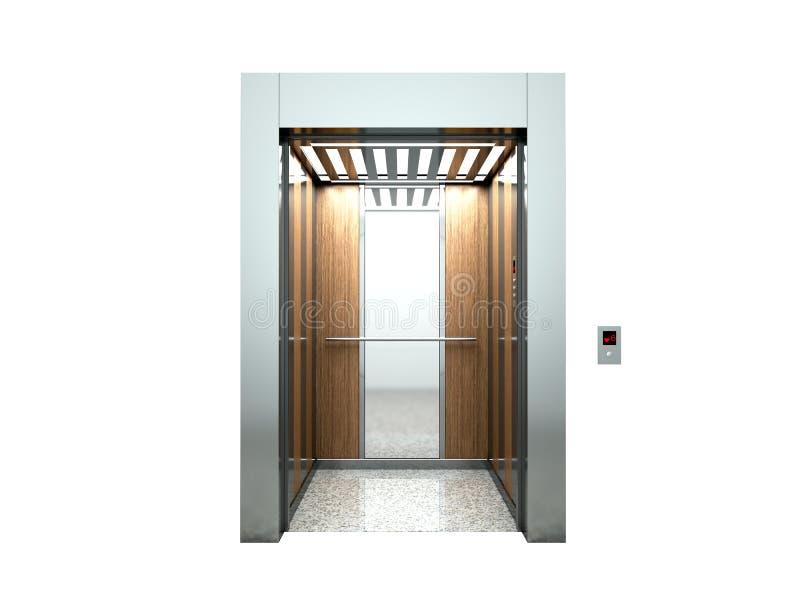 Het realistische lege open binnenland van de liftzaal met het wachten 3d lift vector illustratie