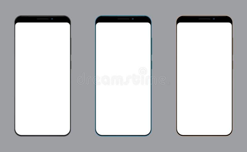 Het realistische mobiele telefoon lege scherm voor modelpresentatie royalty-vrije illustratie