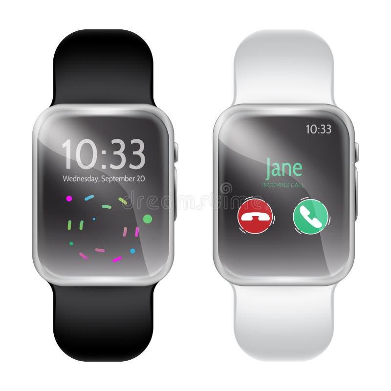 Het realistische, moderne malplaatje van het smartwatchmodel royalty-vrije illustratie