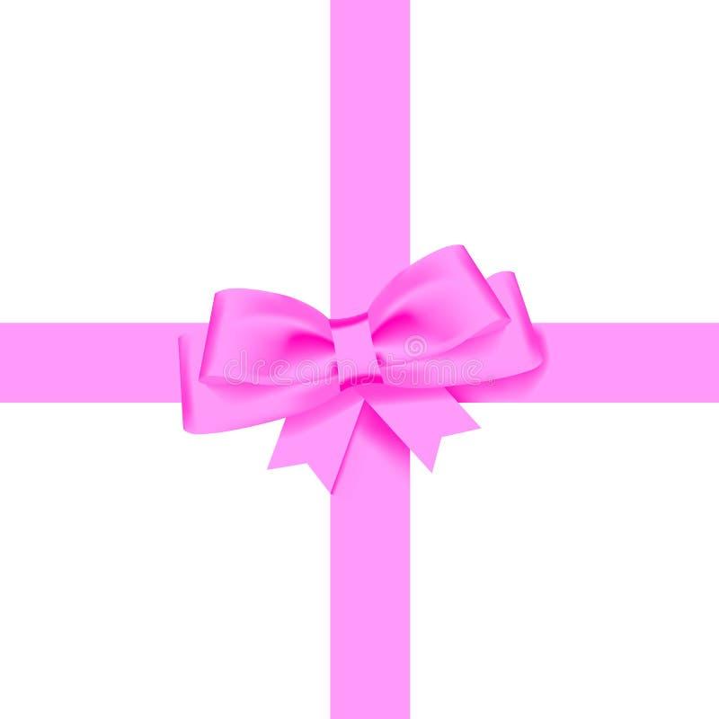 Het realistische roze boog glanzende satijn en het lint met schaduw voor verfraaien uw die vector van de groetkaart op witte acht vector illustratie