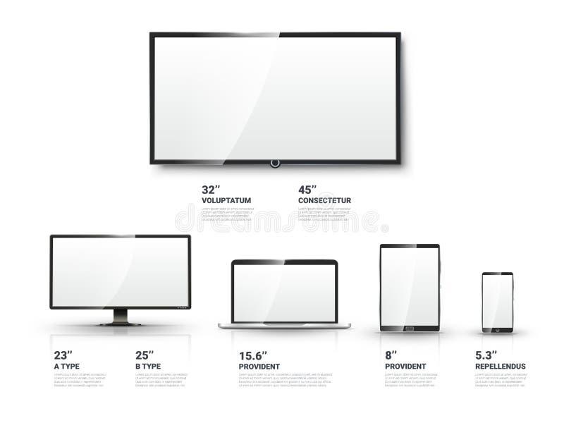 Het realistische TV-scherm, Lcd monitor, laptop, tablet royalty-vrije illustratie